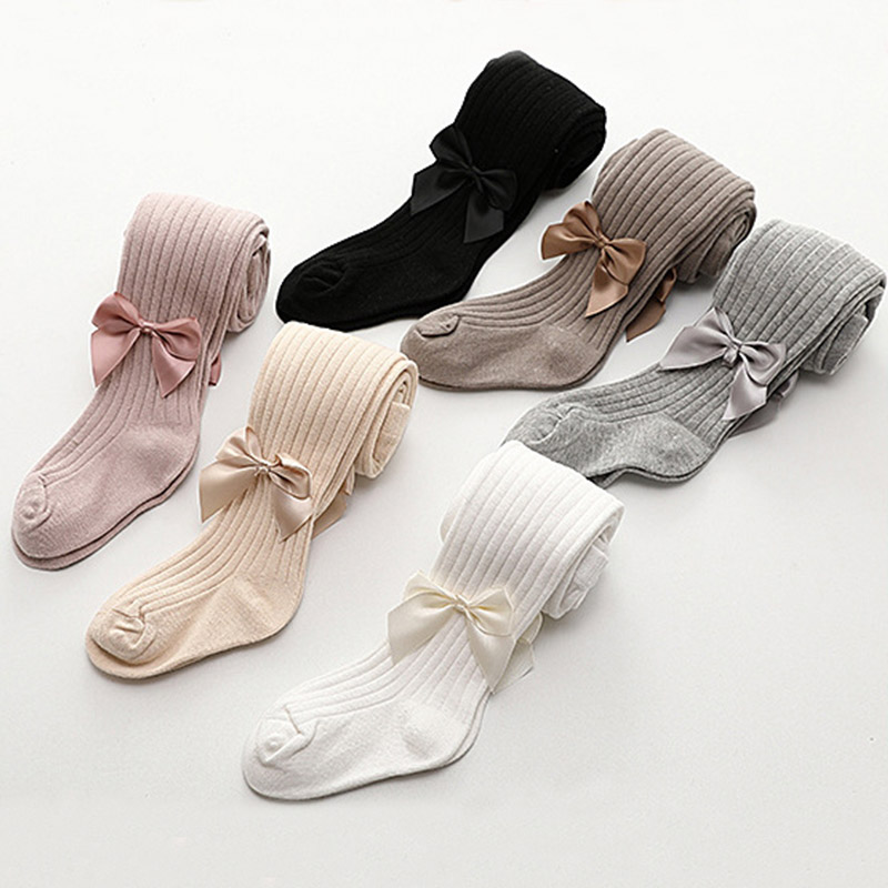 0-6Y Ribbon Bowknot Baby Tights Spring Summer Cotton Tights Baby Girl Stockings Pantyhorse Knitted Infant Knitted Collant Tights