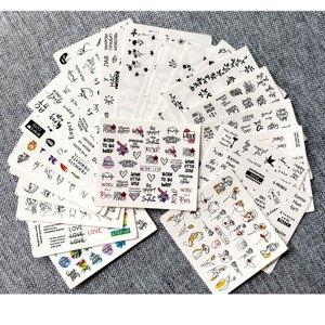 Image 2 - 1 ชุดผสมการออกแบบ Cool สาวเซ็กซี่เล็บสติกเกอร์ตัวอักษรคำใบรูปแบบรูปลอกน้ำ Slider Wraps Decor เล็บ