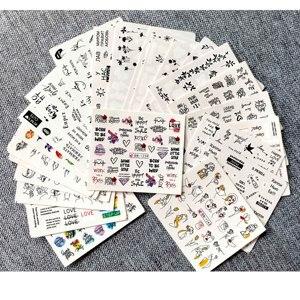 Image 2 - 1 ensemble dautocollants sympas et sexy pour fille, Nail Art, lettres russes, motifs de feuilles, décalcomanies à leau, décor pour manucure
