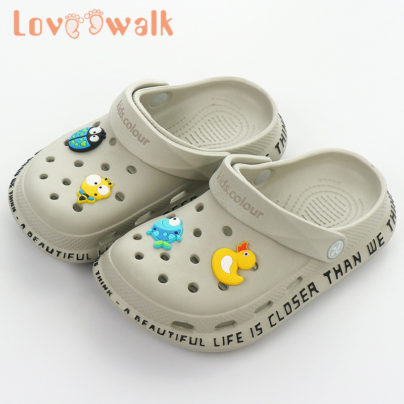 Loveewalk Summer Kids Hollowing Out Garden Shoes For Baby Boys Girls High Quality Croc Shoes Non Slip Cartoon Children Slippers