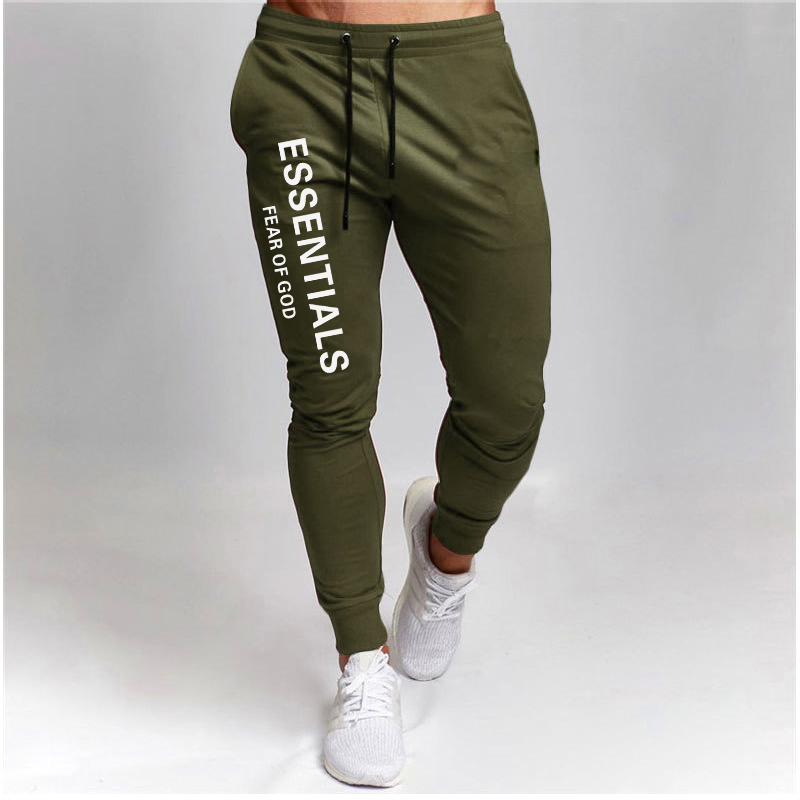 2021 Men's new product trousers fitness casual pants daily training fitness casual sports jogging Casual printed trousers