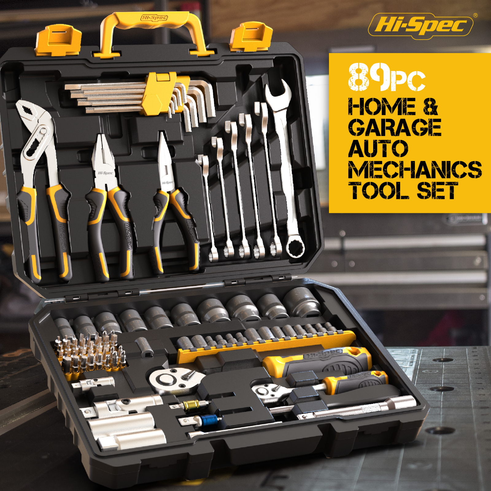 Hi-Spec 89pc Mechanic's Hand Tool Kit Set of Tools for Auto 1/2 1/4 Professional Socket Wrench Combination Tool Set with Toolbox