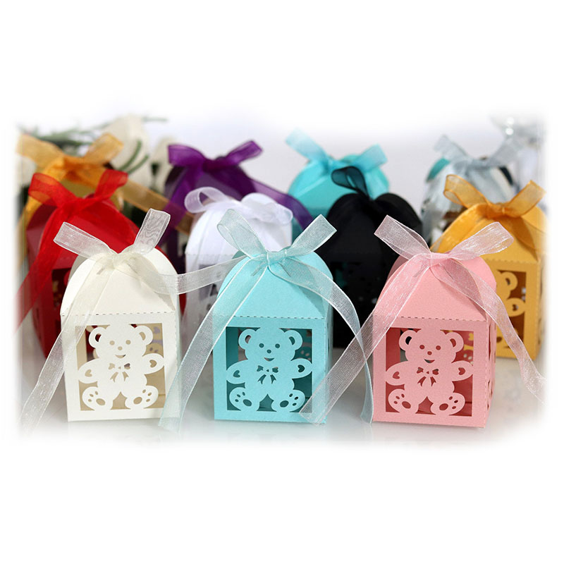 50pcs Little Bear Candy Boxes Sweets Favor Gift Boxes With Ribbon For Baby Shower Birthday Children's Day Wedding Party Supplies