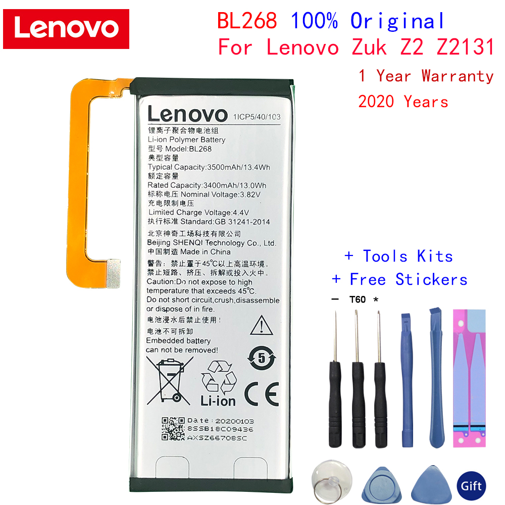 New Original Lenovo Battery BL268 For Lenovo ZUK Z2 Z213 3500mAh Mobile Phone replacement High Quality Battery with tools Gifts image