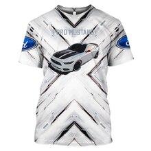 Новая 3D печать Форд спортивная машина Футболка мужская и женская модная футболка Спортивная пара Harajuku с коротки...