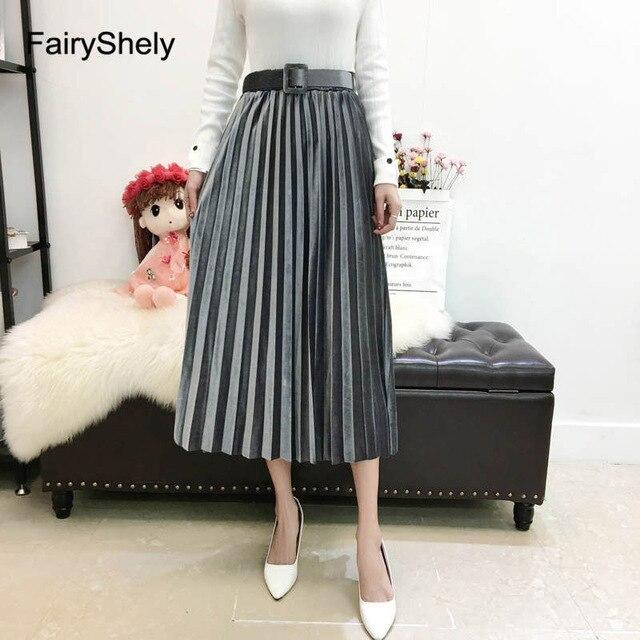 FairyShely 2020 Vintage Velvet Pleated Long Skirt Women High Waist Midi Skirt Korean Black Elastic Band Belt Maxi Skirts Womens 4