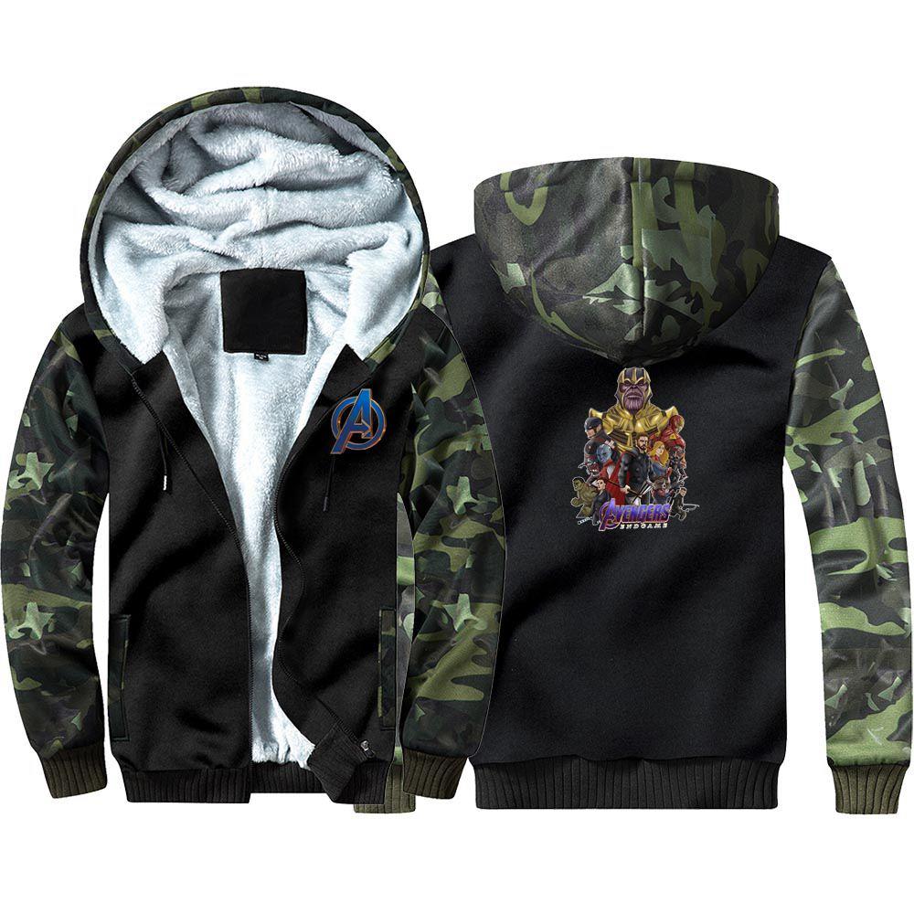 The Avengers 4 Superhero Camouflage Hoodie Sweatshirts Winter Thicken Hooded Coat Cosplay Warm Men Clothing
