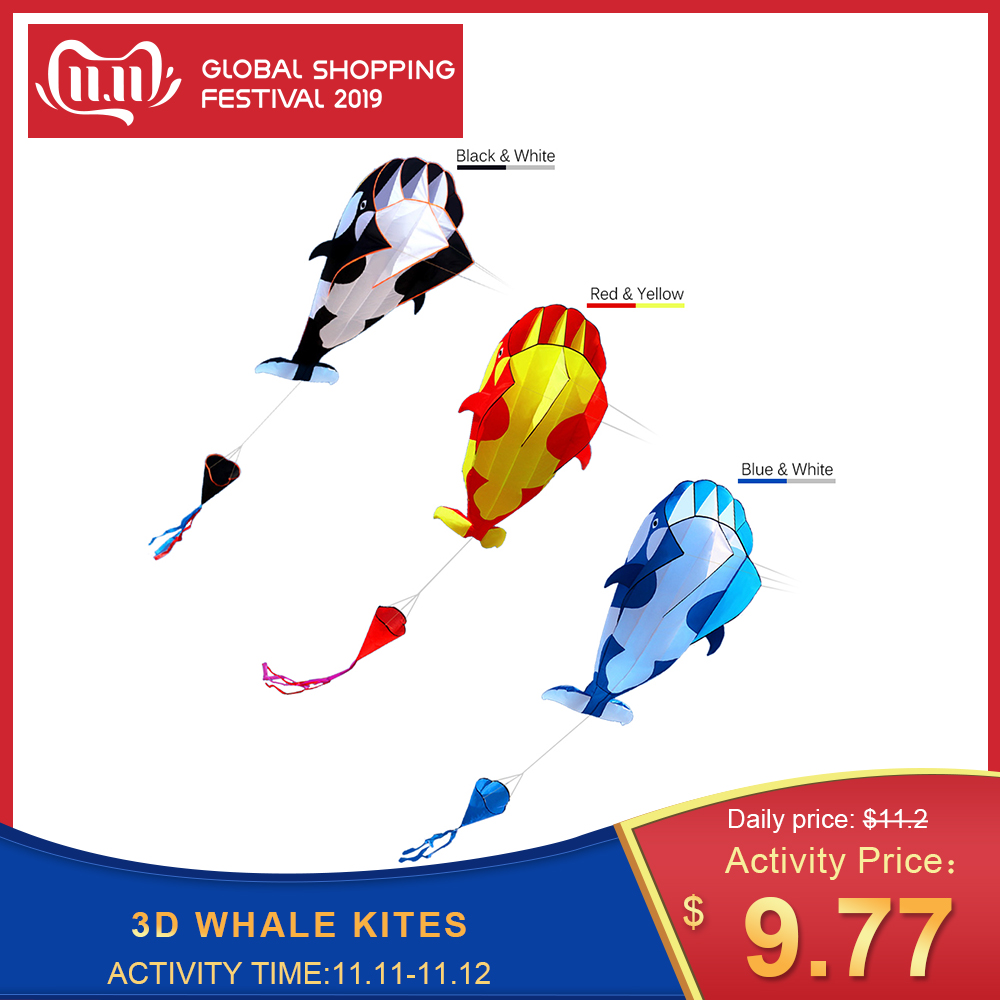 kites High Quality 3D Kite Huge Frameless Soft Big Whale Flying Sports Beach Kites Easy to Fly Outdoor for Kids Adu