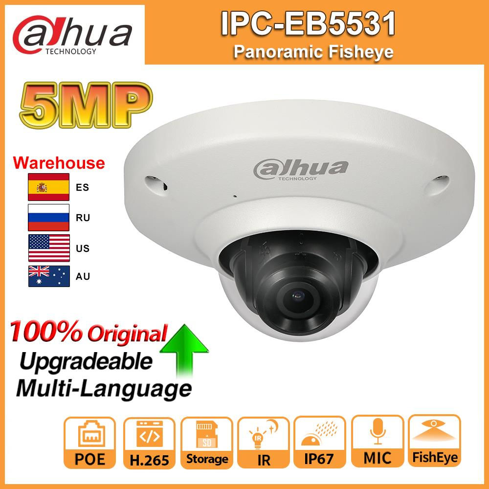 Original Dahua IPC-EB5531 5MP IPC Panoramic Fisheye IP Camera POE Built-in Mic SD Card Slot H.265 Smart Detect Onvif IP67