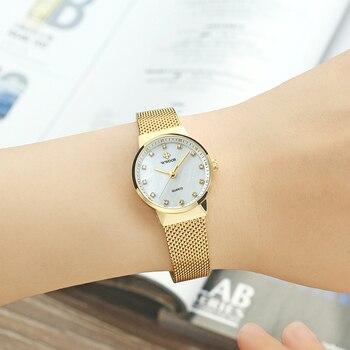 WWOOR Women Bracelet Watches Luxury Gold Quartz Women Wrist Watch Ladies Stainless Steel Clock Fashion Diamond Dial Reloj Mujer