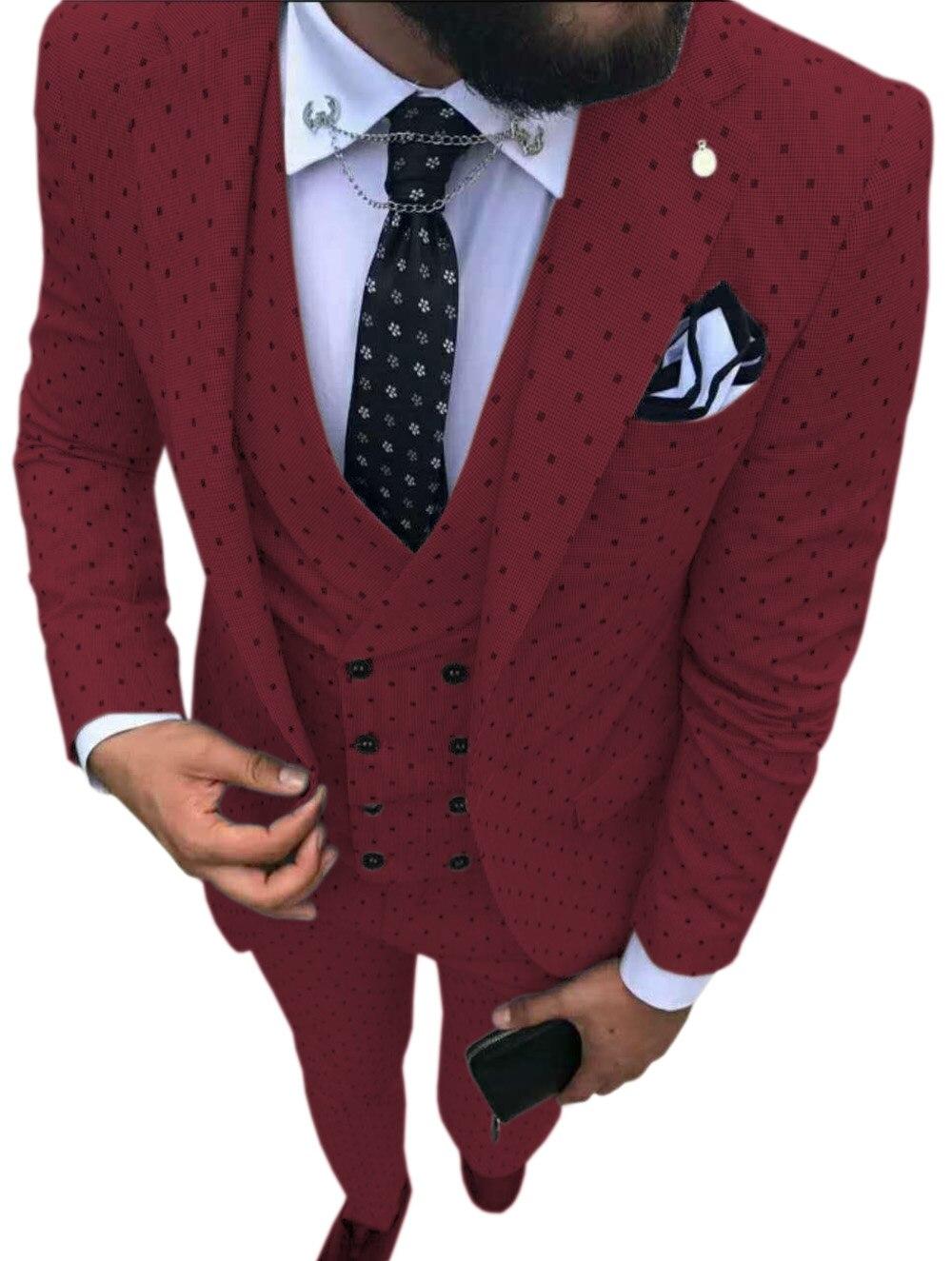 Office  Suits Men Vest Pants Wedding Suits Point Wave Suits Mens Pieces For Blazer Business Casual Dress Three Commuter