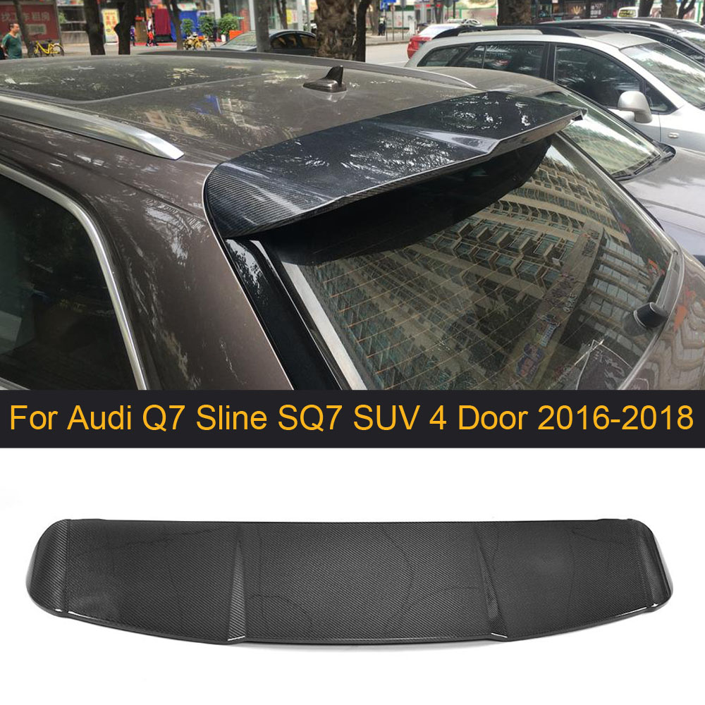 Carbon Fiber Car Rear Spoiler Window Wing For Audi Q7 Slin SQ7 SUV 4 Door 2016-2018 Rear Trunk Spoiler Wing Boot Lip Black FRP