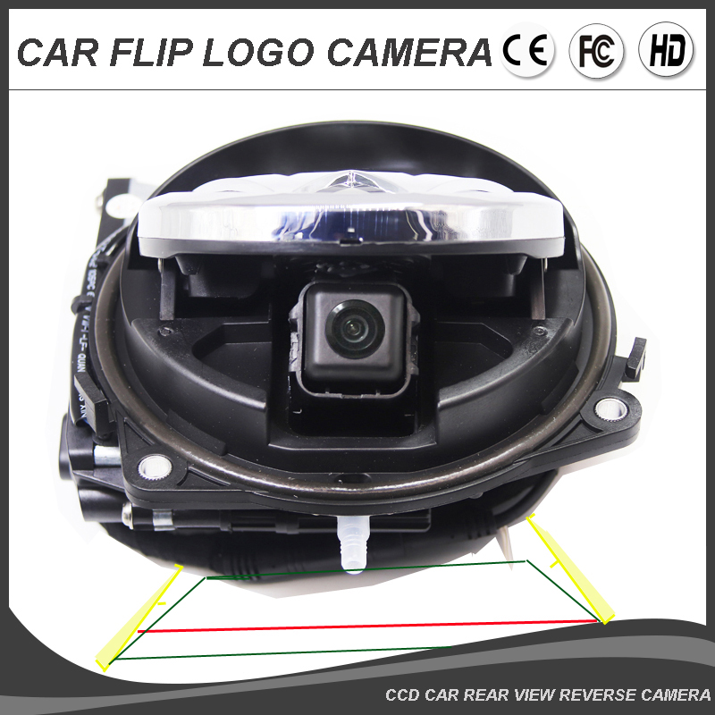 Car Flip VW Logo Rear View Reversing Camera For Volkswagen Golf 6 Passat Magotan Flipping Badge Emblem Rotate Dynamic Trajectory