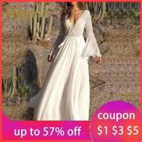 Bohoartist Women Sexy Dress Long Flare Sleeve V Neck White Party Hollow Boho Lace Maxi Dress Holiday Chic Summer Female Dresses