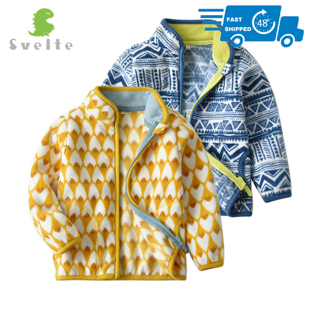 SVELTE for 2 7 Years Cute Kid and Toddler Boy Fleece Jacket for Spring Fall Winter Clothes with Print Pattern