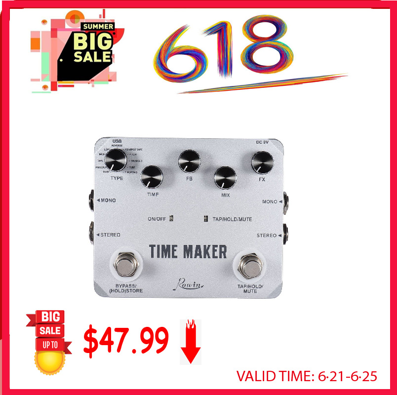 Rowin LTD-02 Guitar Time Maker Pedal Ultra Delay Effect Pedals For Electric Guitars 11 Types Delay WithTap Tempo Function