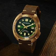 San Martinใหม่Bronze Tuna 6105 ดำน้ำ 200M SHARKสายหนังผู้ชายอัตโนมัตินาฬิกาข้อมือสำหรับชายชาย