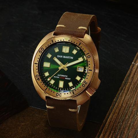 Relógios de Mergulho Resistente à Água Pulseira de Couro Relógios de Pulso Automático para Masculino Martin Novo Bronze Atum 6105 200m Tubarão Masculino San