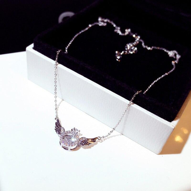 2020 Hot Fashion Super Shine Zircon Angle Wing Necklace for Women Luxury Rhinestone Stylish Choker Kolye Feminia Bijoux Gift
