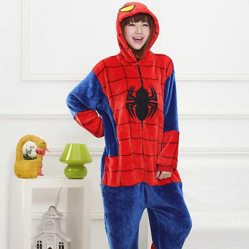 大人スパイダーマンヒーロー着ぐるみ女性男性漫画の動物ステッチパンダコスプレ衣装冬カバーオールパジャマカップパーティースーツ