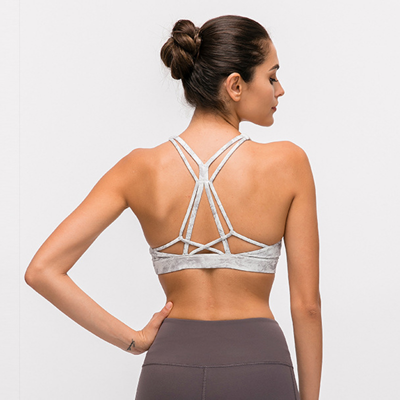 Padded Strappy Sports Bra Yoga Tops Activewear Workout Clothes For Women Wireless Fitness Athletic Exercise Running Bras