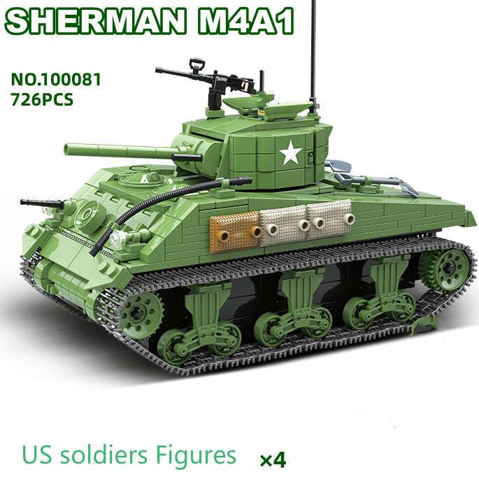 Neue WW2 UNS Armee Waffen Serie Sherman Tank MGMC Bausteine Modell Bricks WW2 Military Figuren Spielzeug