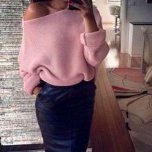 цена на Women Casual Solid Long Sleeve Slash Neck Pullovers Sweater For Women Ladies Knitted Sexy Asymmetrical Hem Tops Crochet Winter