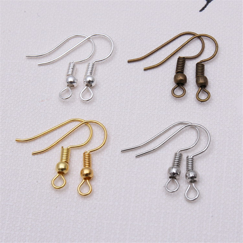 200 New Gold Silver Bronze Plated Flat with Coil Earring Wire French Hook 18mm
