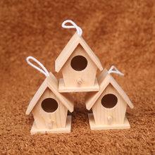 Ninho de pássaro de madeira casa pendurado acessórios para pátio casa decoração do berçário diy pintura mini ninho pássaro madeira artesanato