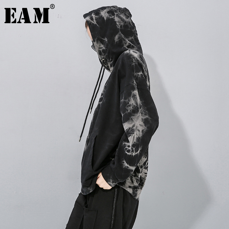 [EAM] Loose Fit Black Pattern Print Oversized Sweatshirt New Hooded Long Sleeve Women Big Size Fashion Tide Spring 2020 1N896