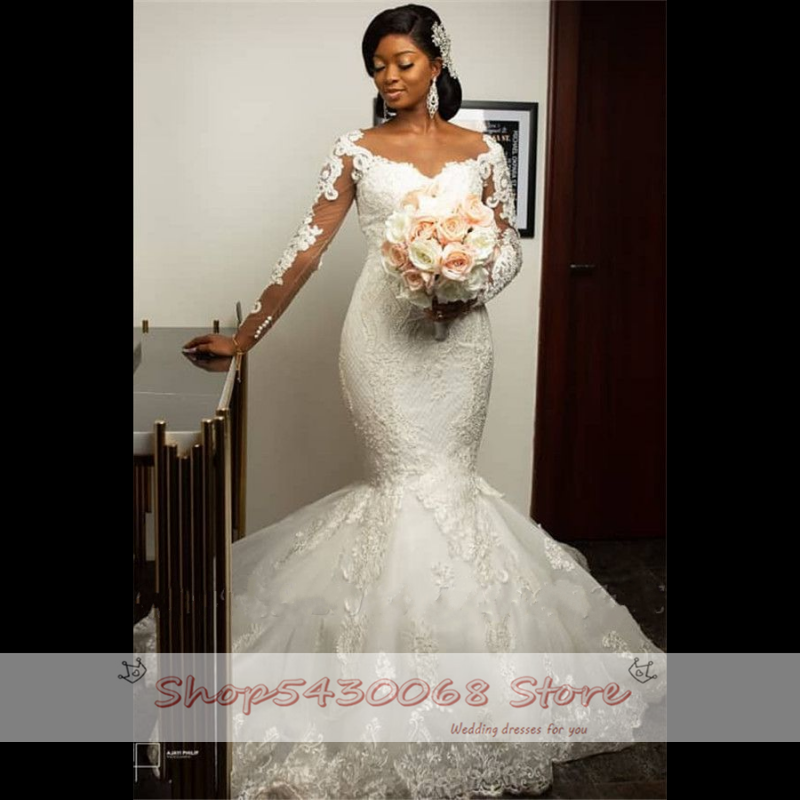 2020 Fashion African Mermaid Wedding Dresses Full Sleeve Lace Applique Bridal Gowns Illusion Back Bridal Dress Robe De Soiree