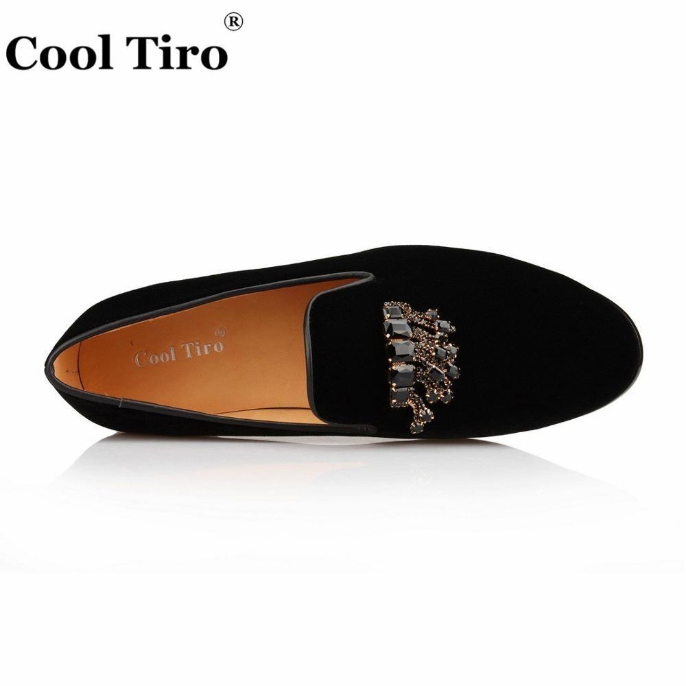 Стильные черные бархатные Лоферы TIRO с драгоценными камнями; Мужские модельные туфли; Роскошные лоферы с кристаллами; деловая мужская обувь - 3
