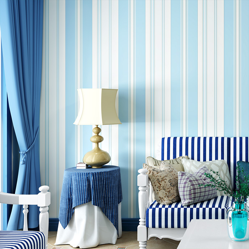 Mediterranean Pink Blue Nonwoven Fabric Vertical Striped Wallpaper Wide Thin Stripe Living Room Bedroom CHILDREN'S Room Backgrou