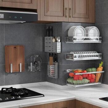 Soporte de pared de acero inoxidable 304 estante de almacenaje para cocina plato escurridor cubierta de estante de secado soporte de cubiertos Accesorios escurridor organizador escurreplatos especieros