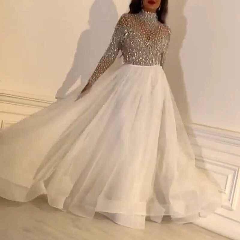 נוצץ נשים רשת שמלת Sheer קו ארוך מקסי שמלת מוק צוואר אלגנטי ערב מסיבת שמלת Slim לבן אורגנזה Vestidos תלבושות