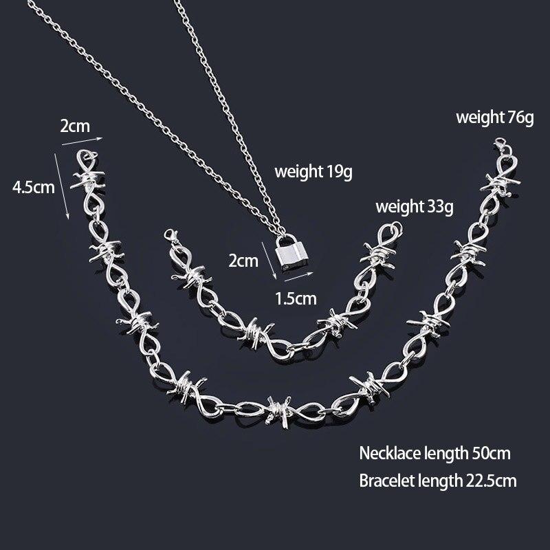 Punk Style PadLock Pendant Necklace Harajuku Streetwear Thorns Flame Choker Necklace for Women Men Jewelry