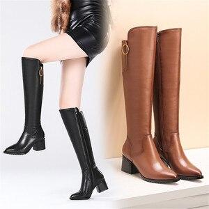 Image 5 - Stile britannico della pelle bovina materiale con cerniera decorativa stivali a punta di spessore tacco alto cerniera laterale suole di gomma stivali invernali donne