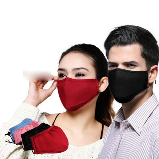 Cotton PM2.5 Mouth Mask anti Dust Haze Activated Carbon Filter Windproof Mouth-muffle Bacteria Proof Flu Face masks  Black