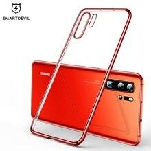 SmartDevil – coque de téléphone en Silicone souple et transparente, étui arrière galvanisé avec protection dappareil photo pour Huawei P30 Pro