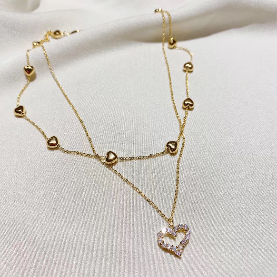 Korean new fashion jewelry multi-layer chain copper inlaid zircon love pendant cute careful shape clavicle female necklace