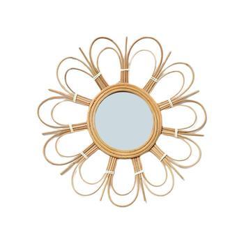 Lustro klasyczna Retro Rattan Art Deco okrągłe lustro do makijażu Nordic wiklinowe lustro wiszące do salonu łazienka tanie i dobre opinie Mirror ROUND Other Rattan Mirror makeup mirror Art Deco Round Makeup Mirror Living Room Bathroom Decoration Mirror