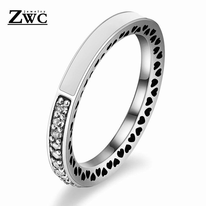 ZWC модный Сияющий светильник в виде сердец с розовой эмалью и прозрачным CZ кольцом на палец для женщин, кольца с кристаллами из медного сплава, ювелирные изделия в подарок - Цвет основного камня: White