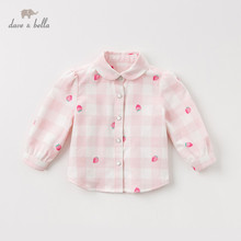 DB13730 dave bella spring baby girls cute plaid fruit print shirts infant toddler tops children high quality clothes