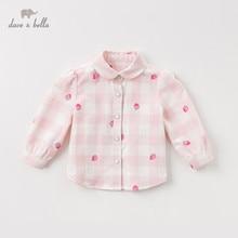 DBM12827 dave bella bahar bebek kız sevimli karikatür baskı gömlek bebek yürüyor üstleri çocuk yüksek kaliteli giysiler