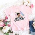 Новинка лета 2020, одежда для маленьких девочек, модная повседневная футболка в стиле Харадзюку, одежда розового цвета для мальчиков
