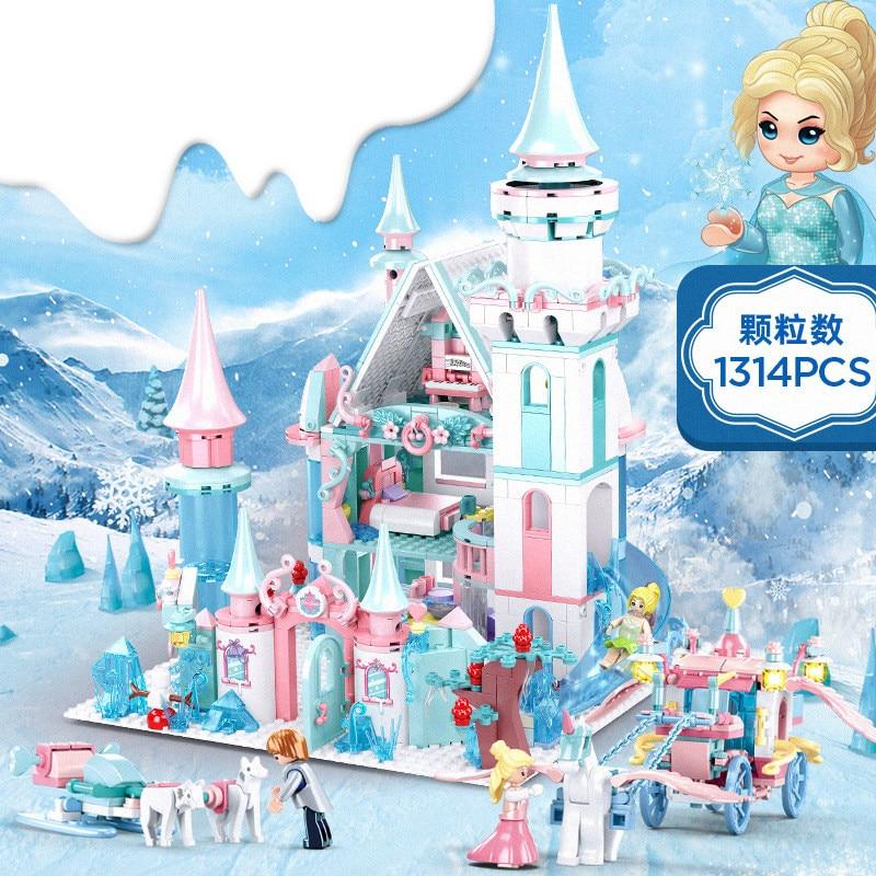 2020 Princess Girl Friends Snow World Queen Anna Elsa Magical Ice Castle Figures Building Blocks Bricks Legoinglys Toys Juguetes