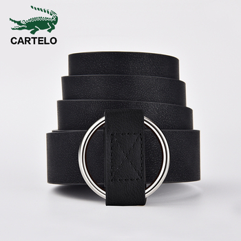 CARTELO Women leather belt without pin high quality metal buckle Newest Round belts women waist female Cowhide