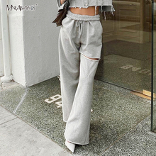 Mnealways18 Hole Hollow Out Harem Pants Women Solid Straight Wide