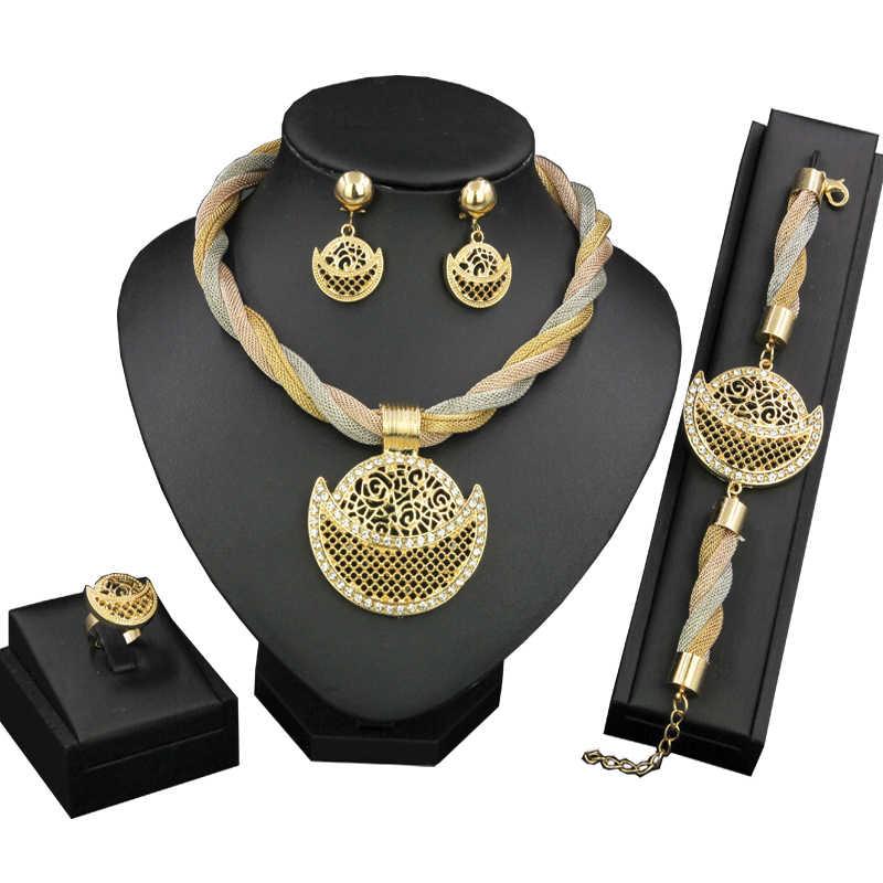 ฟรีคูปองใหม่ปีของขวัญอิตาลีแอฟริกันเจ้าสาวหมั้นเครื่องประดับชุดสร้อยคอต่างหูสร้อยข้อมือดูไบ GOLD เครื่องประดับ