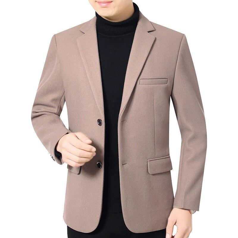 Mens Woolen Blend Coat Winter Boys Khaki Wool Coat Casual Oversized Jackets Slim Fit Overcoat Men Long Sleeve Top Outerwear Xxxl